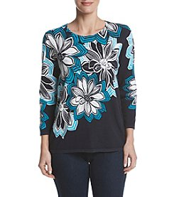 Alfred Dunner® Petites' Linear Floral Print Sweater
