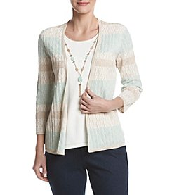 Alfred Dunner® Petites' Texture Biadere Layered Look Sweater