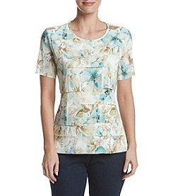 Alfred Dunner® Petites' Watercolor Floral Accordion Top