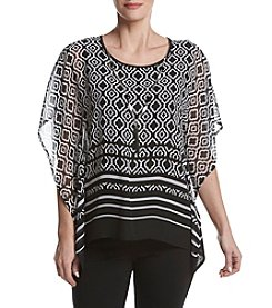 Alfred Dunner® Petites' Medallion Border Woven Poncho