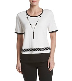 Alfred Dunner® Petites' Medallion Border Necklace Sweater