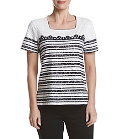Alfred Dunner® Daisy Stripe Burnout Knit Top