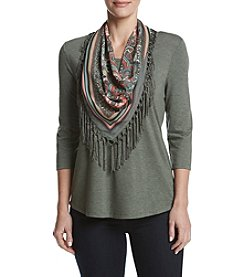 Oneworld® Scoop Neck Tee With Scarf