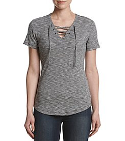 Ruff Hewn Speckled Lace Up Top