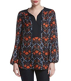 Jones New York® Graphic Flower Print Peasant Top