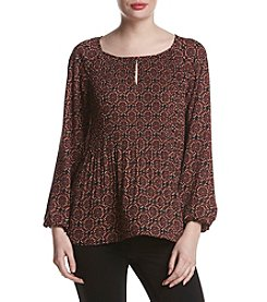 Jones New York® Medallion Print Pleat Blouse