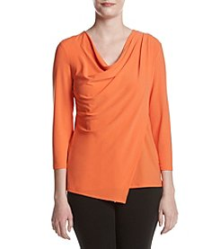 Jones New York® Knit Crepe Pleat Shoulder Top