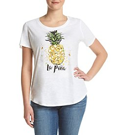 Relativity® Plus Size Pineapple Tee