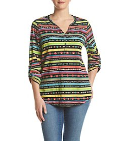 Relativity® Plus Size Multi Stripe Henley
