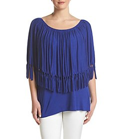 Relativity® Plus Size Fringe Poncho Top