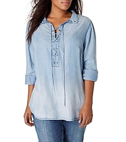 Vintage America Blues™ Plus Size Dahlia Lace Up Shirt