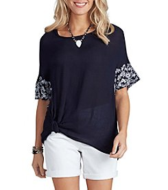 Democracy Embroidered Knot Front Top