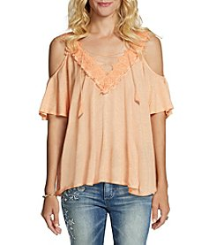 Jessica Simpson Cold-Shoulder Lace-Up Top