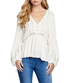 Jessica Simpson Lace-Up Peasant Top