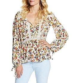 Jessica Simpson Floral Lace-Up Peasant Top