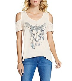 Jessica Simpson Boho Spirit Cold-Shoulder Tee
