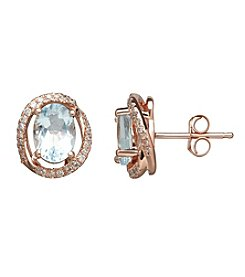 Aqua Stone Earrings with 0.14 ct. t.w. Diamond Accents in 14K Rose Gold