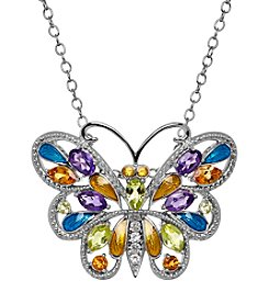 Sterling Silver Peridot, Citrine And Amethyst Butterfly Pendant