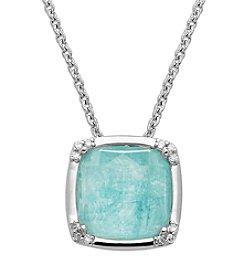 Sterling Silver White Quartz Pendant Necklace With 0.07 ctx Diamond Accent; 18