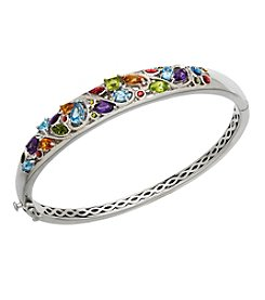 Sterling Silver Swiss Blue Topaz, Peridot, Citrine, Amethyst Bangle