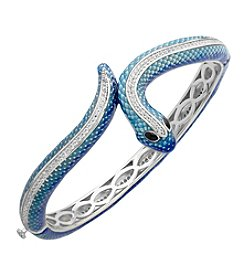 Sterling Silver White Topaz Snake Bangle