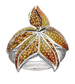 Sterling Silver Citrine Starfish Ring