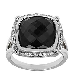 Hematite Crystal Quartz Ring with 0.18 ct. t.w. Diamond Accents in Sterling Silver