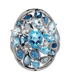 Sterling Silver Swiss Blue Topaz, London Blue Topaz Ring