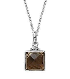 Sterling Silver Smoky Quartz Pendant Necklace; 18