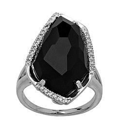 Sterling Silver Onyx Ring With 0.13 ct. Diamond Accent