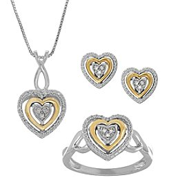 Sterling Silver And 10K Yellow Gold 0.26ct. Diamond Pendant Necklace, Ring And Earring Set; 18