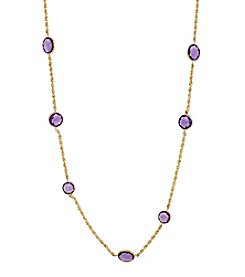 Amethyst Beaded Necklace in 10K Yellow Gold