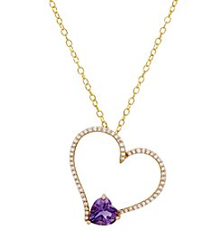 Amethyst Heart Pendant with 0.17 ct. t.w. Diamond Accents in 10K Yellow Gold