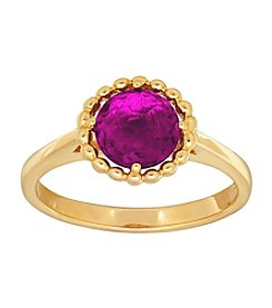 Amethyst Bead Ring in 10K Yellow Gold