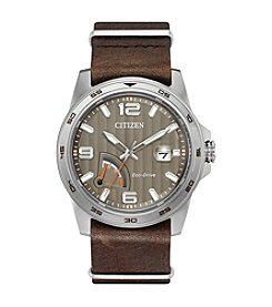 Citizen® Men's Eco-Drive Stainless Steel Citizen Leather Strap Watch