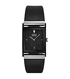 Citizen® Men's Black Leather Eco-Drive Watch