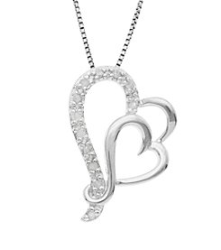 Marsala Genuine Diamond Double Heart Pendant