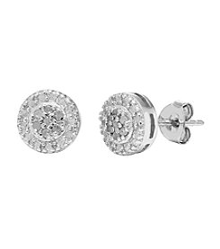 Marsala Genuine Diamond Halo Stud Earrings