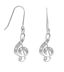 Marsala Genuine Diamond Treble Clef Earrings