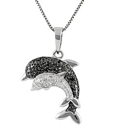 Marsala Genuine Diamond Dolphin Pendant