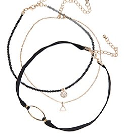 Robert Rose Three Layer Bead Chain And Cord Choker Set