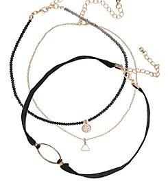 Robert Rose Three Layer Bead Chain And Cord Choker Set
