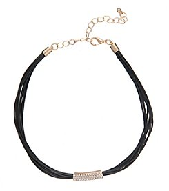 Robert Rose Multi-Cord Black Choker with Pavé Bar