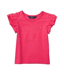 Polo Ralph Lauren Girls' 2T-6X Short Sleeve Flutter Top