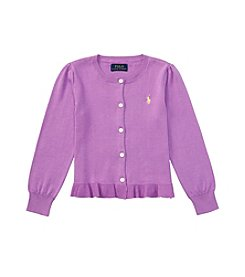 Polo Ralph Lauren® Girls' 2T-6X Ruffle Cardigan Sweater