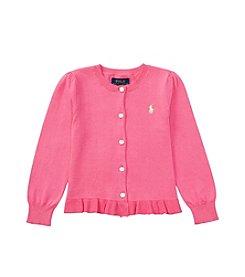 Polo Ralph Lauren® Girls' 2T-6X Solid Ruffle Cardigan