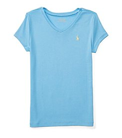 Polo Ralph Lauren Girls' 7-16 Short Sleeve V-Neck Tee