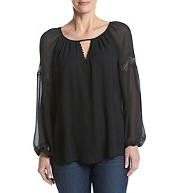 Max Studio Edit™ Lace Trim Peasant Top