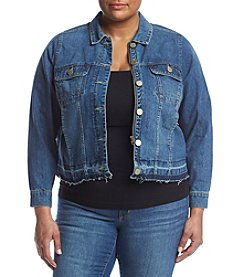 Democracy Plus Size Patch Pocket Denim Jacket
