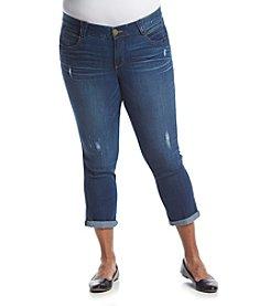 Democracy Plus Size Destructed Cropped Jeans